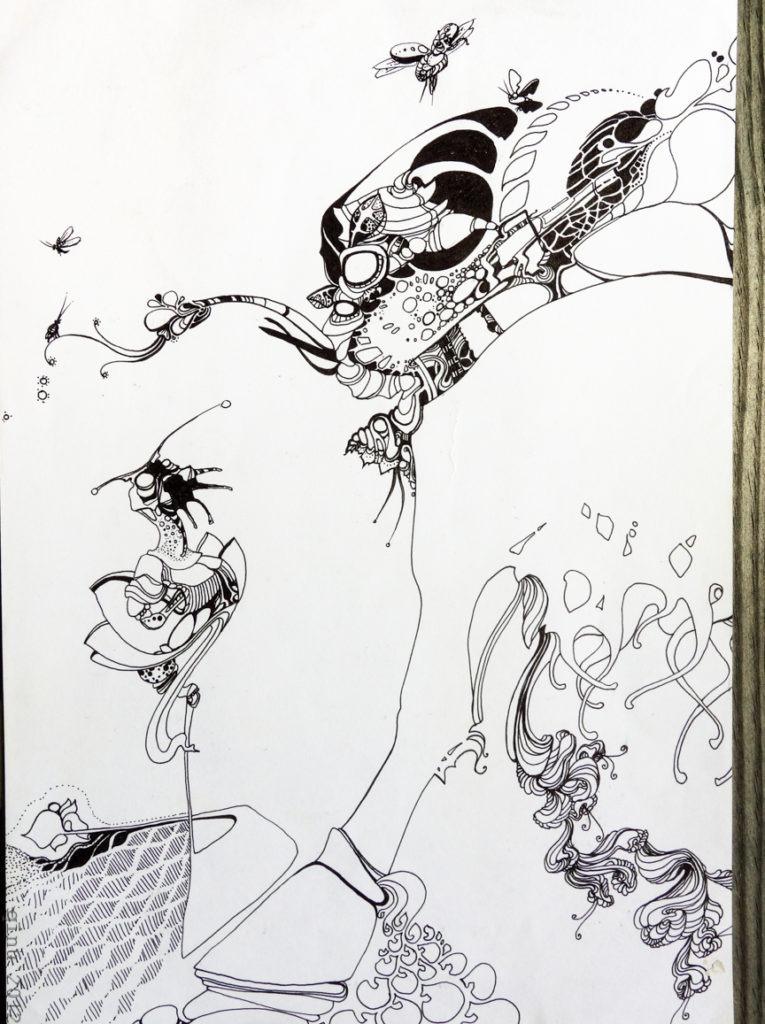 meeresgetier - Zeichnung auf Papier