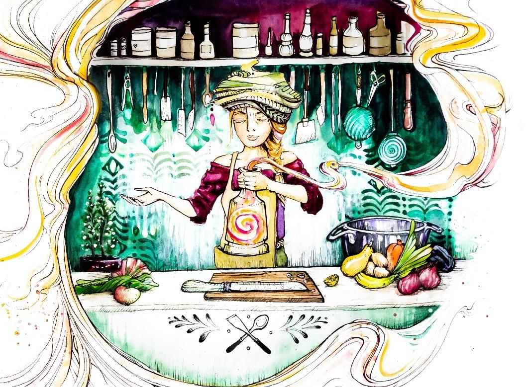 Magische Kochbuch Illustrationen